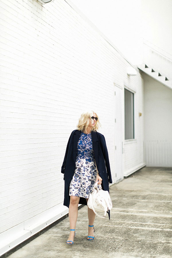 Blue and white floral dress with navy overcoat, @waitingonmartha