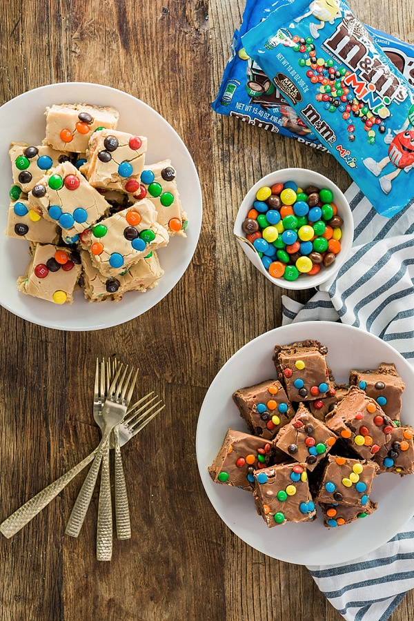 Homemade Peanut Butter Fudge with Peanut Butter M&M's + Milk Chocolate Fudge with Pretzel M&M's recipe
