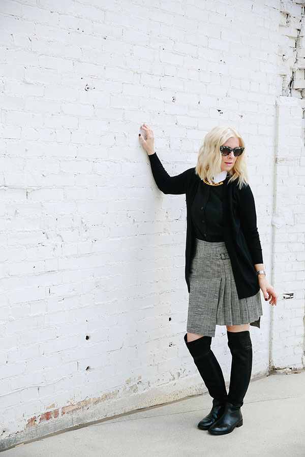 Grey pleated skirt with over the knee boots, @waitingonmartha