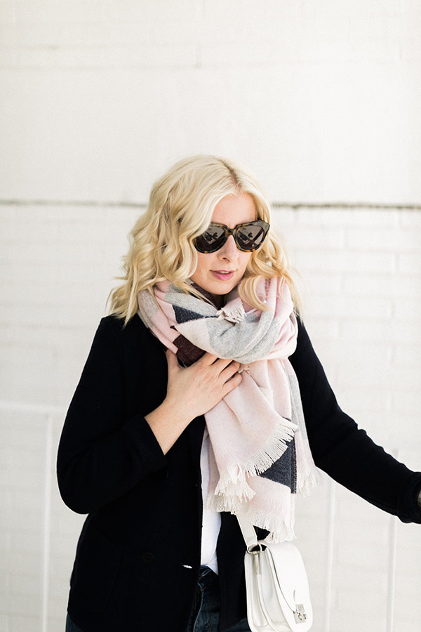 Pink blanket scarf from Talbot's, @waitingonmartha