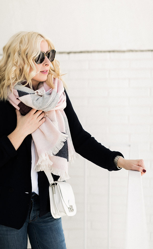 Benefit National Breast Cancer Foundation with @Talbot's blanket scarf. Outfit via @waitingonmartha @