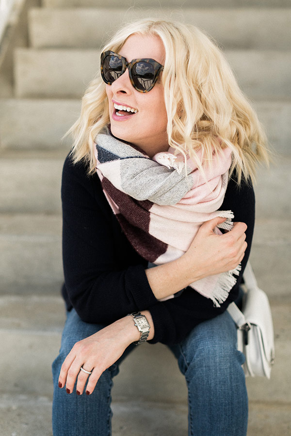 Blanket scarf and sunnies, Waiting on Martha