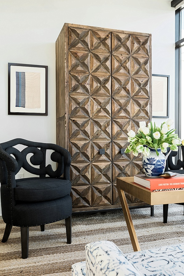 Stunning armoir and Penelope chairs, One Room Challenge
