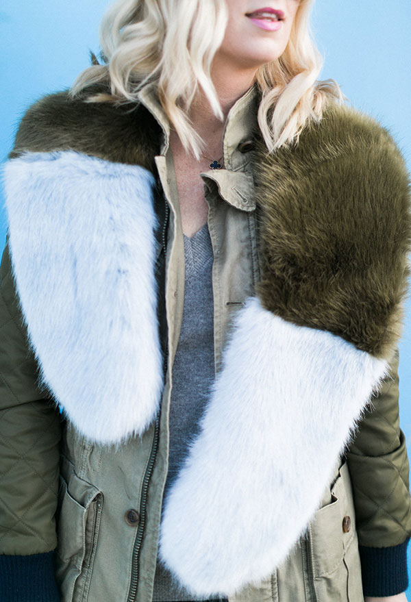 Colorblocked faux fur scarf @waitingonmartha