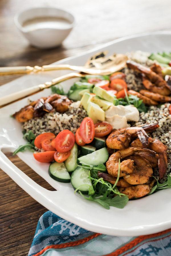 A Healthy Greek Salad with Spicy Shrimp, Avocado & Hummus Waiting On Martha