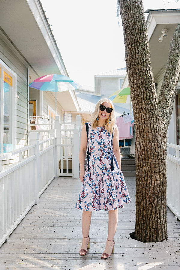 Draper James floral pink dress with bows, waitingonmartha.com
