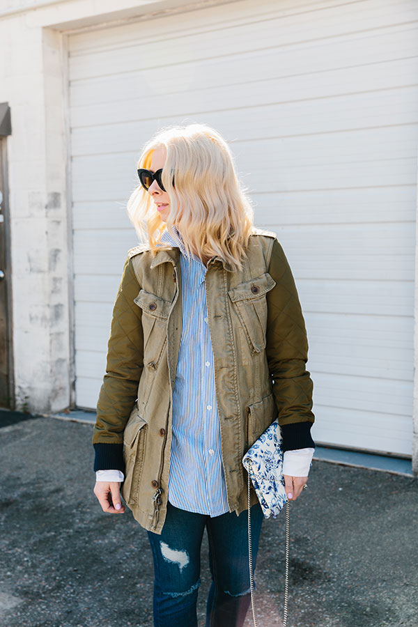 Military jacket, blue striped shirt for spring, @waitingonmartha