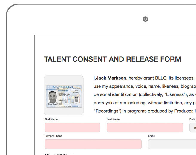 Waiver Master Video Production, Talent Release, Participant Consent