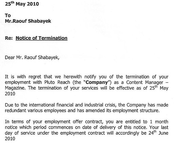 termination letter uae - Ozilalmanoof - how to write a termination letter to an employee