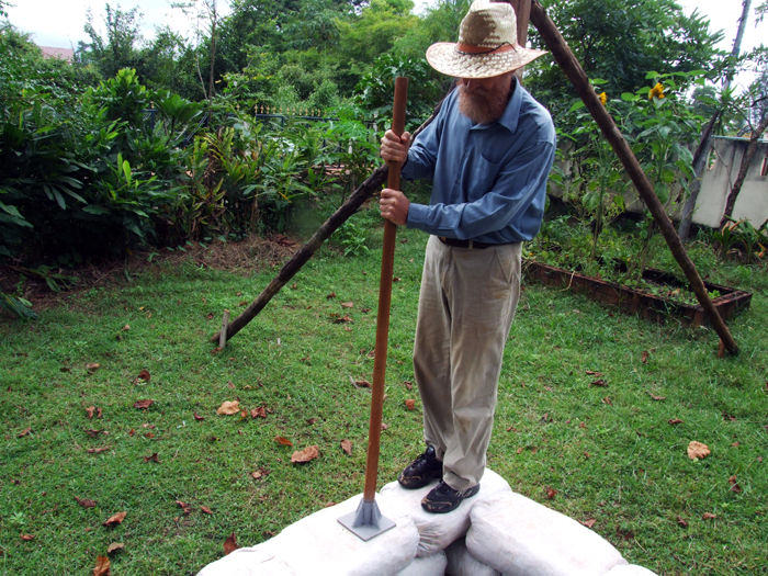 Step 5: Tamping the earthbags