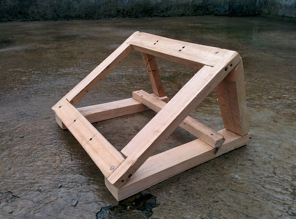 Wooden solar panel stand