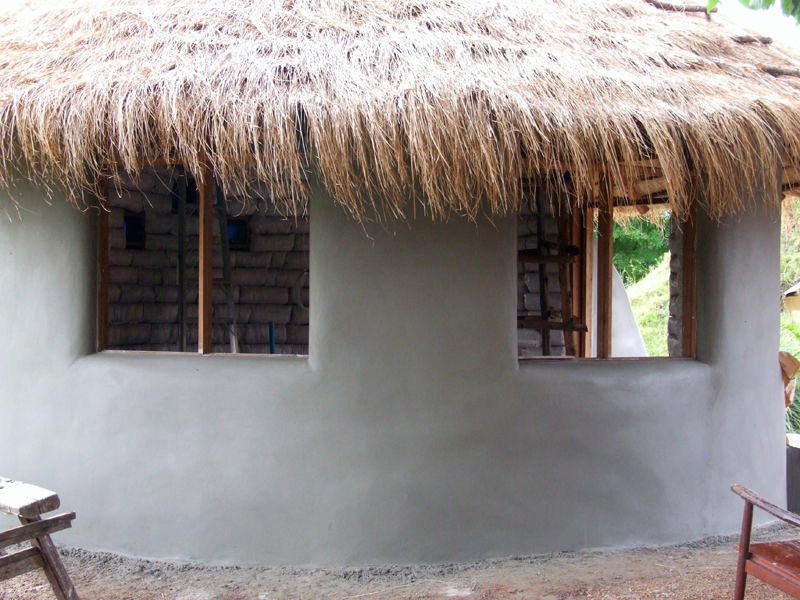 Finish coat of cement plaster on exterior walls.