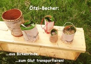 Ötzi-Becher mit Glut