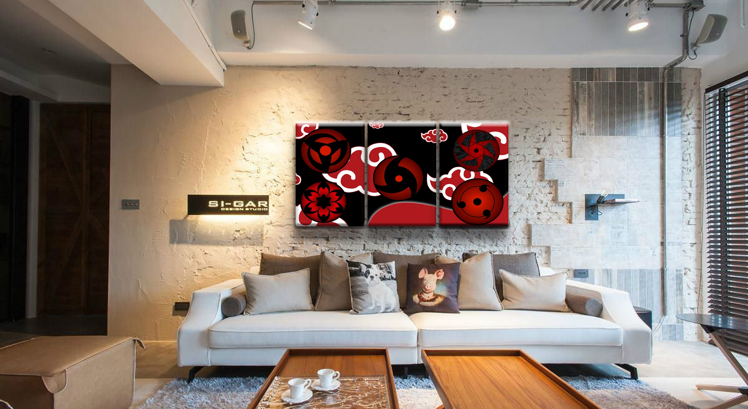 Art Decoration Conception 3 Panel Naruto Sasuke Sharingan Anime Poster Canvas Printed Painting For Living Room Wall Art Decor Picture Artworks Poster