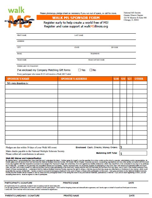 Sponsorship Pledge Form Template – Pledge Form