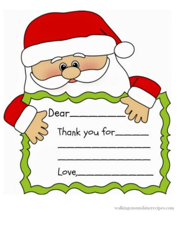 Santa Printable Thank You Note Walking On Sunshine Recipes