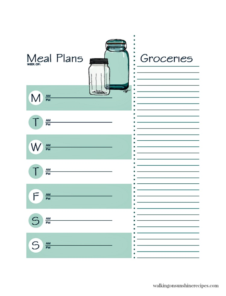 Printable Meal Planner with Grocery List and Bonus Recipe Cards