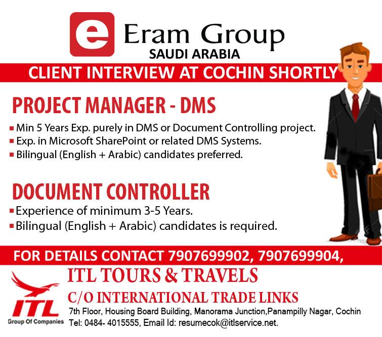 PROJECT MANAGER - DMS  DOCUMENT CONTROLLER For Eram Group SAUDI ARABIA