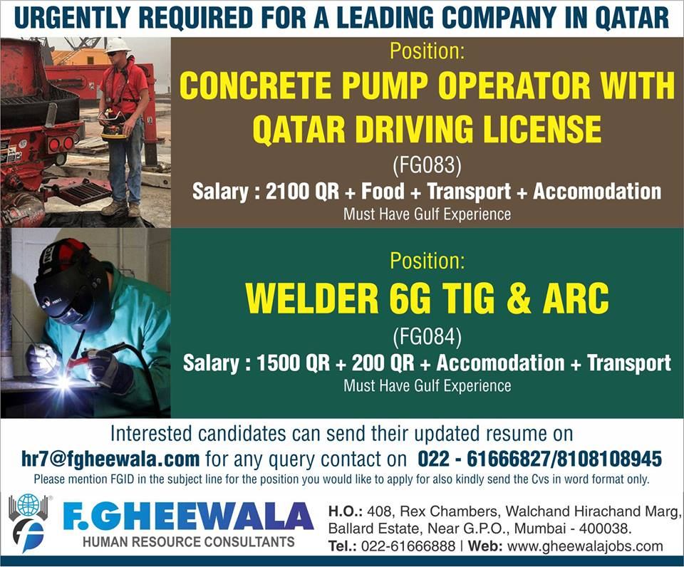 URGENTLY REQUIRED FOR A LEADING COMPANY IN QATAR