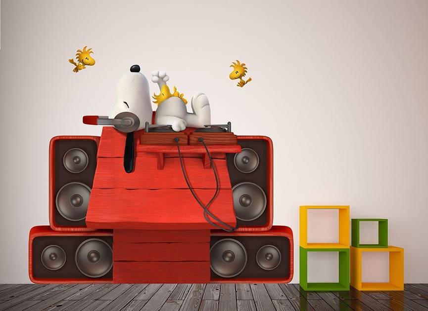 DJs Snoopy & Woodstock Wall Decal