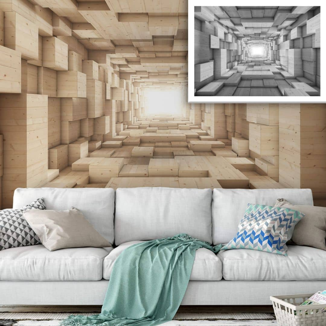 Fototapeten In 3d 3d Fototapete Holz - Tunnel | Wall-art.de