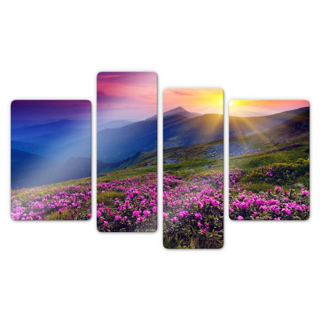 Bilder Mehrteilig Sunset In The Mountains Glass Art (4 Parts) | Wall-art.com