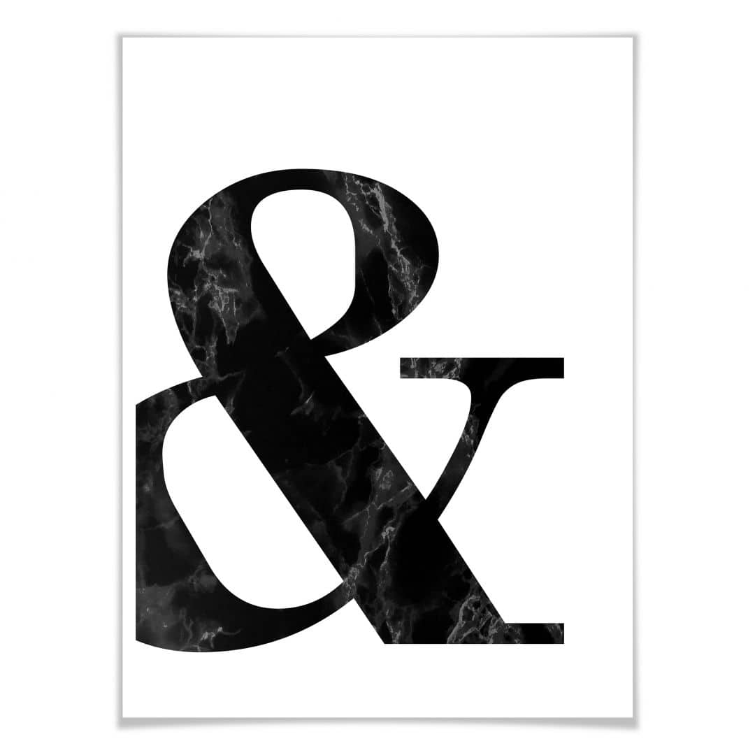 Bettwäsche Maritime Motive Poster Black Marble Ampersand | Wall-art.de