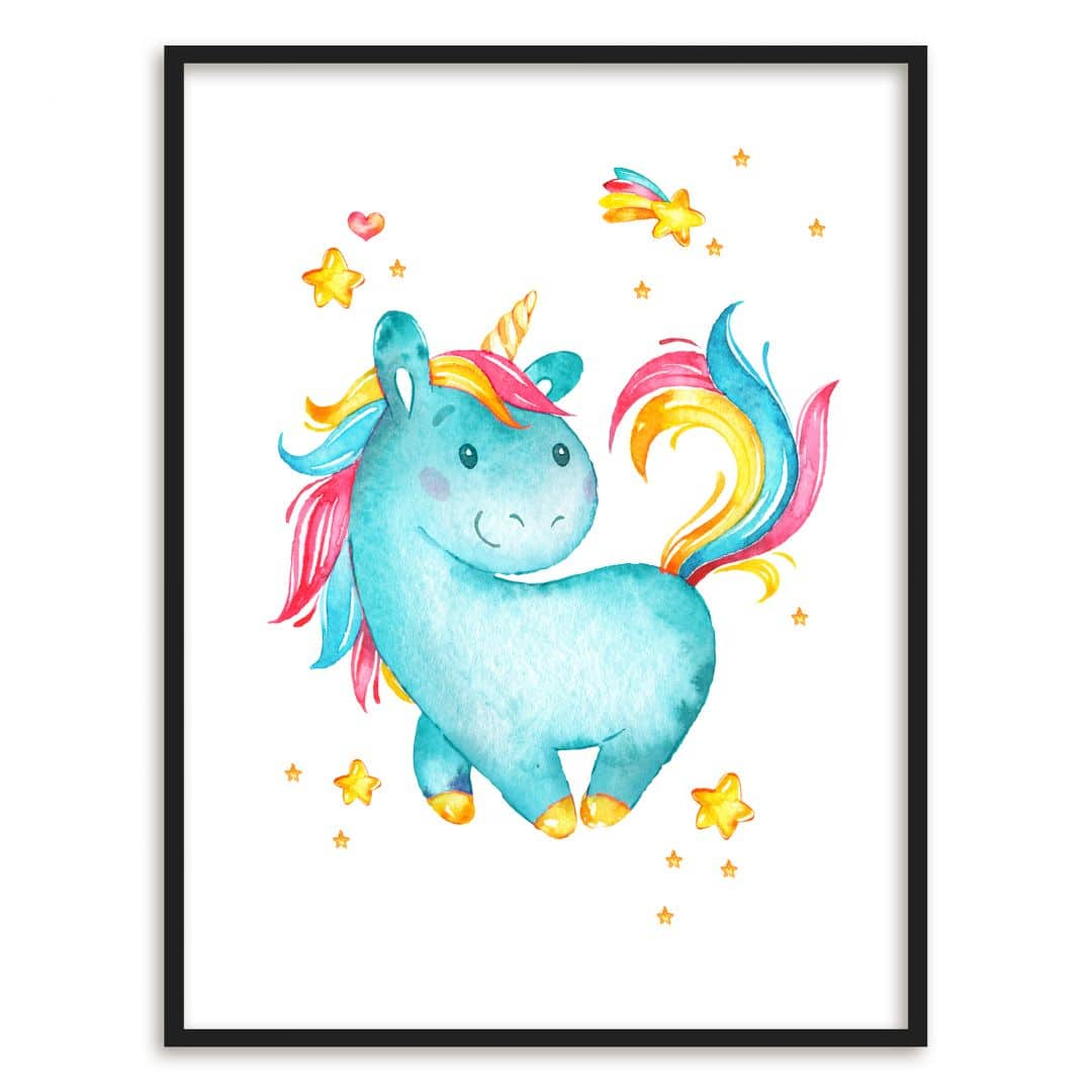 Tapete Im Bilderrahmen Poster Mit Bilderrahmen Milly The Unicorn Wall Art De