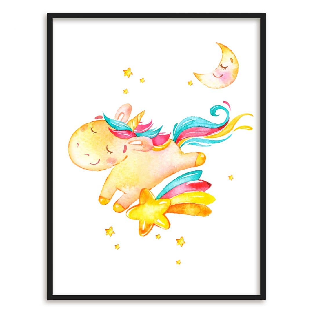 Tapete Im Bilderrahmen Poster Mit Bilderrahmen Shiny The Unicorn Wall Art De