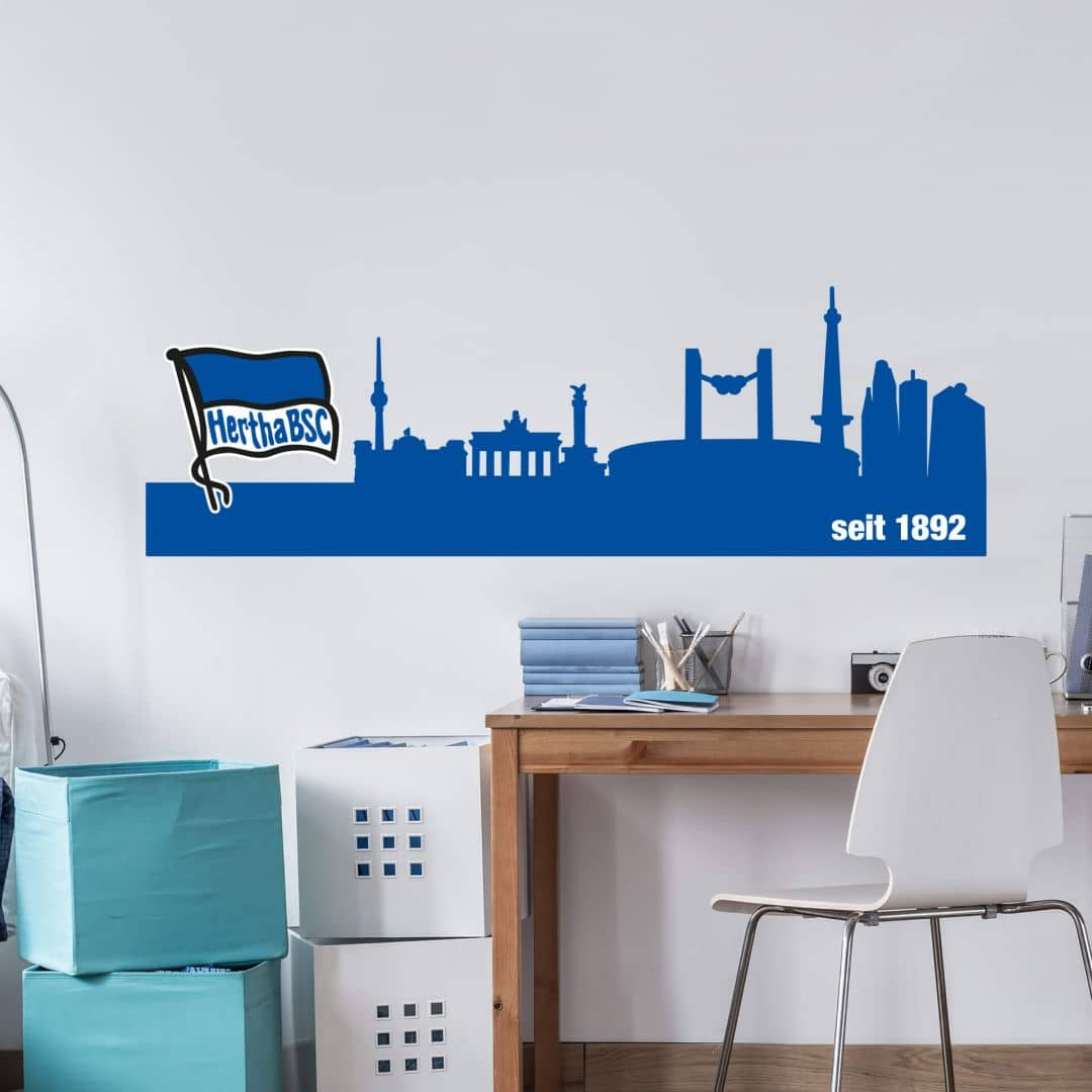 Hertha Bsc Bettwäsche Wandtattoo Hertha Bsc Skyline Wall Art De