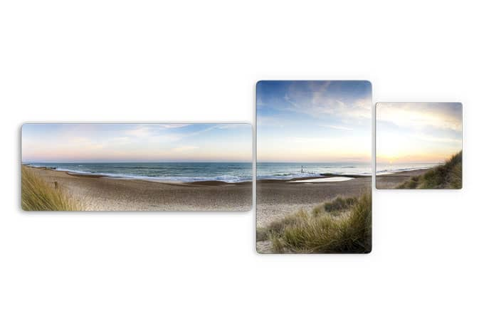 Beach Panorama Glass Art 3 Parts Wall Art Com - Foto Glasbild