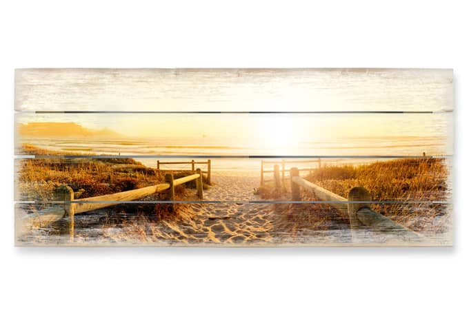 Bettwäsche Mit Motiv Panorama Holzbild Sunset At The Beach | Wall-art.de