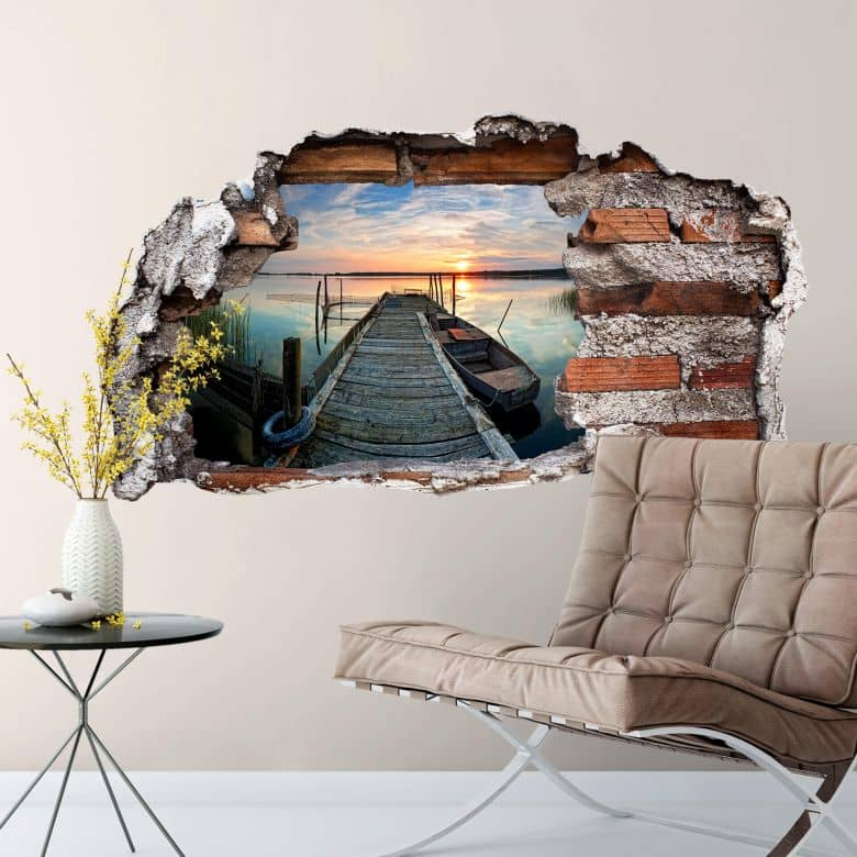 Küchenrückwand Spritzschutz Acryl 3d Wandtattoo Sunset At The Lake | Wall-art.de