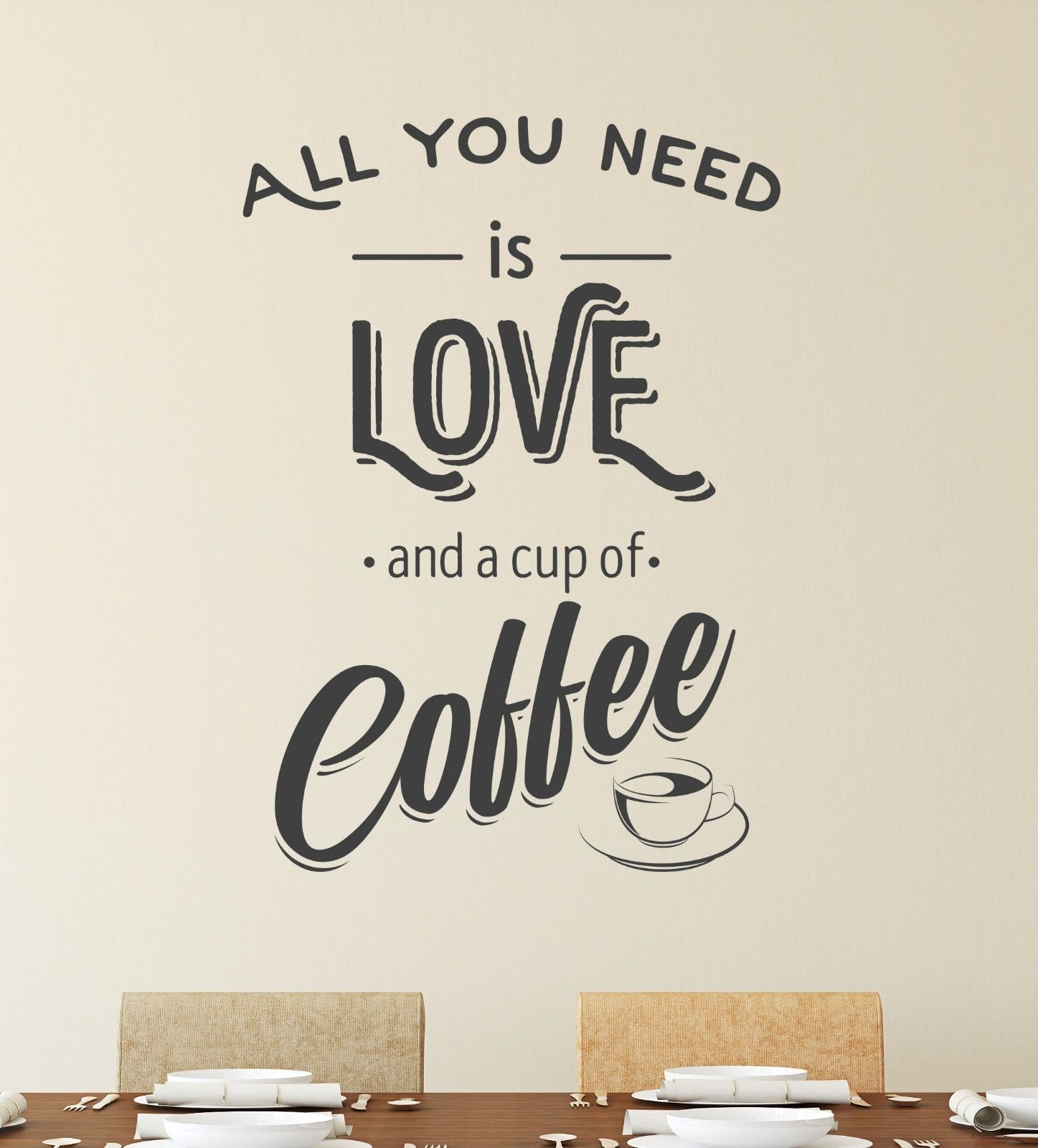Décoration Murale Vinyle All You Need Is Coffee Wall Sticker Vinyl Decal Art Pub Cafe Decor Mural Graphic