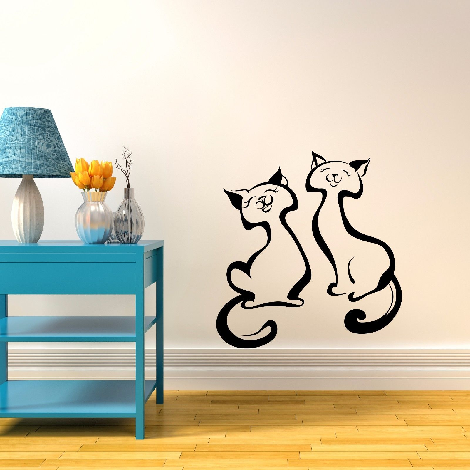 Vinyl Wall Decal 2 Cats Vinyl Wall Sticker Decor Decal Livingroom Nursery