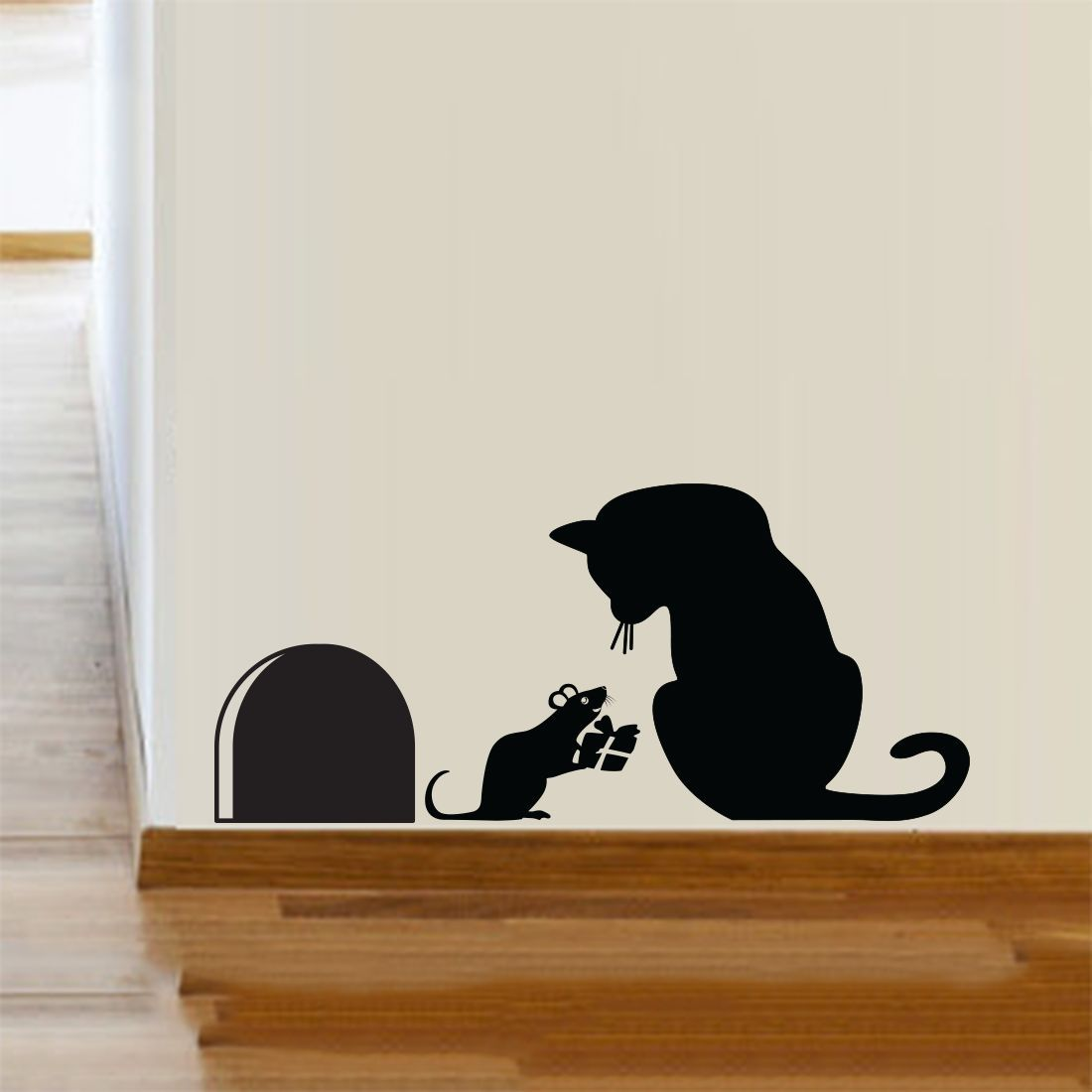 Sticker Decor Cat Mouse Hole Christmas Party Vinyl Wall Sticker Decor