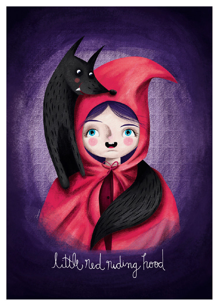 Poster Red Little Red Riding Hood Fairy Tale Poster Walladore