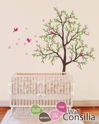 Brown nursery tree with pink birds - Baby wall decals