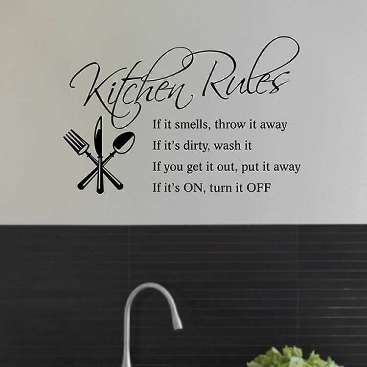 kitchen rules wall quote sticker kitchen rules wall quote personalised kitchen wall sticker decals