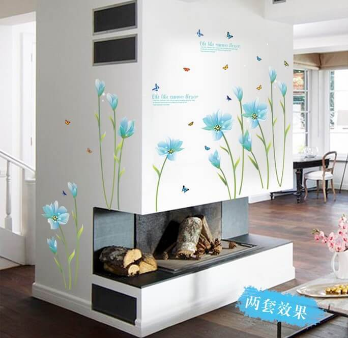 flowers wall sticker beautiful flowers purple lilies wall stickers floral leaves flowers wall art stickers wall decal transfers ebay