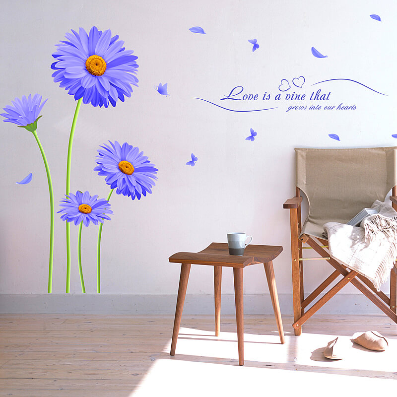 purple flower wall stickers bedroom home decor wall decals bedroom wall art family member bedroom wall stickers
