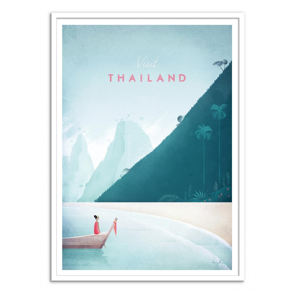 50x70 Poster Illustration Art Poster Frame And Print Of Thailand Beaches