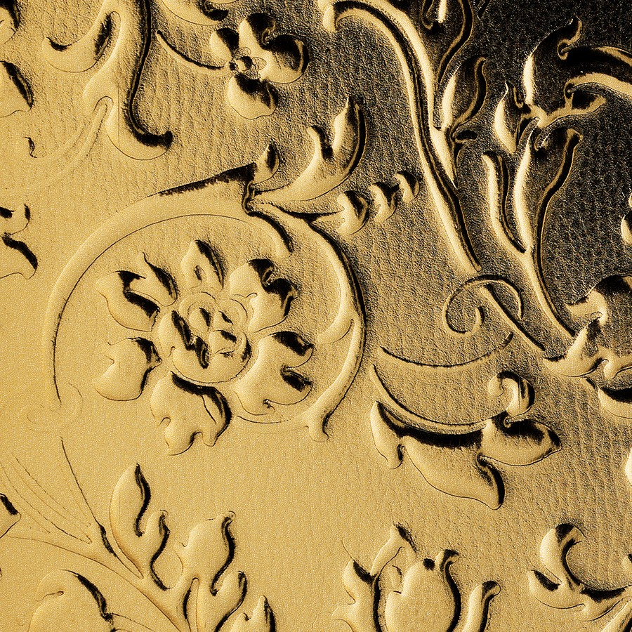 Wall Panel 14267 Floral Leather Baroque Flower Look Gold Wallface Wall Panels Design Sheets