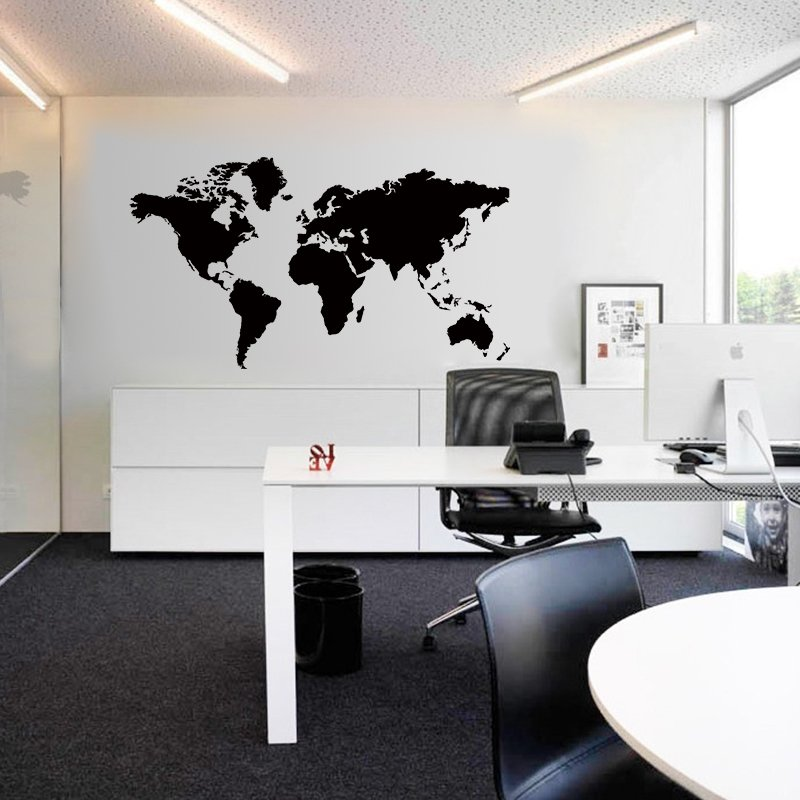 Large Size Black World Map Office Home Decor Walling Shop
