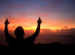 Christian Photography: Holy Prayer On Sunset Papel de Parede Imagem