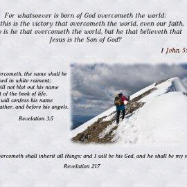 1 John 5:4-5, Revelation 3:5 and 21:7 Wallpaper