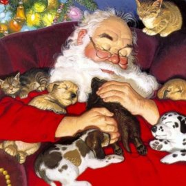 Christmas – Santa and Puppies Wallpaper