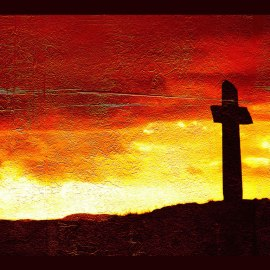 Cross and Red Sky Wallpaper