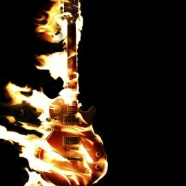 Guitar on fire Wallpaper