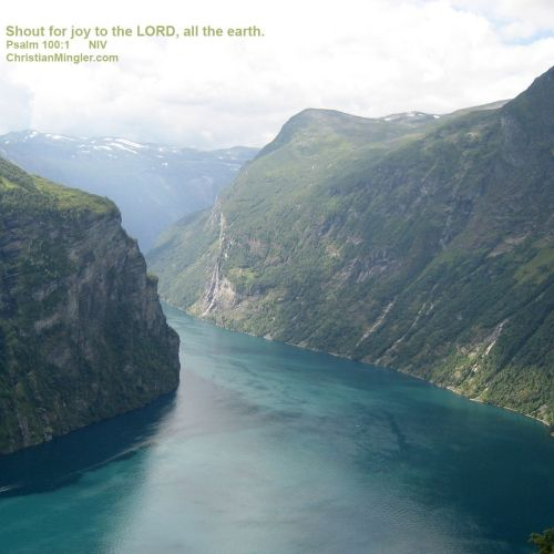 Psalm 100:1 christian wallpaper free download. Use on PC, Mac, Android, iPhone or any device you like.